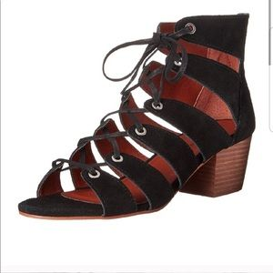 Lucky Brand Genevie Black Suede Lace-up Sandal 7
